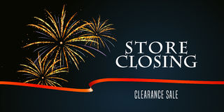 Store closing vector illustration, background with firework Royalty Free Stock Images