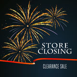 Store closing vector illustration, background with firework Stock Photo