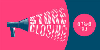 Store closing vector illustration, background with mouthpiece announcement. Template banner, flyer for reduction sale when store closing Royalty Free Stock Image