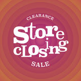 Store closing vector illustration, background with op art style red swirl Royalty Free Stock Photo