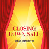 Store closing vector illustration, background with red curtain Stock Images