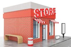Store with copy space board isolated on white background. Modern shop buildings, store facades. Exterior market. Exterior facade store building. 3D rendering Royalty Free Stock Image