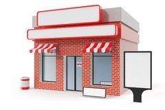 Store with copy space board isolated on white background. Modern shop buildings, store facades. Exterior market. Exterior facade store building. 3D rendering stock illustration