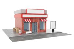 Store with copy space board isolated on white background. Modern shop buildings, store facades. Exterior market. Exterior facade store building. 3D rendering Royalty Free Stock Photo