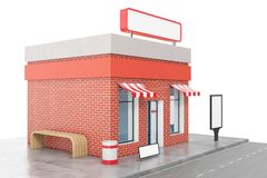 Store with copy space board isolated on white background. Modern shop buildings, store facades. Exterior market. Exterior facade store building. 3D rendering Stock Photo