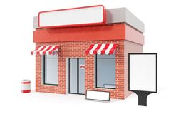 Store with copy space board isolated on white background. Modern shop buildings, store facades. Exterior market. Exterior facade store building. 3D rendering Stock Photography