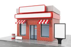 Store with copy space board isolated on white background. Modern shop buildings, store facades. Exterior market. Exterior facade store building. 3D rendering Stock Images