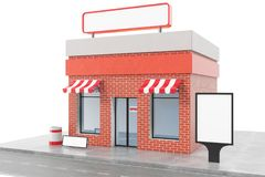 Store with copy space board isolated on white background. Modern shop buildings, store facades. Exterior market. Exterior facade store building. 3D rendering Royalty Free Stock Photos