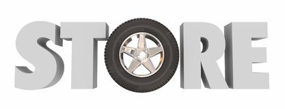Store 3d Word Wheel Tire Auto Supply Parts Shop. Store word in 3d letters with a wheel and tire in it to illustrate an automotive parts supply shop for fixing or Royalty Free Stock Images
