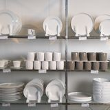 Store display of dishes. Royalty Free Stock Images