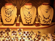 Store Display of Gold Jewelry royalty free stock image