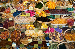Store dried fruit. Shop of dried fruit, Munich, Bavaria, Germany Stock Photos