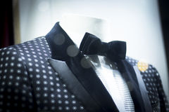 Store dummy in dinner jacket and bow tie. Shop dummy fashion mannequin in department store boutique window wearing evening suit dinner jacket and bow tie Royalty Free Stock Image