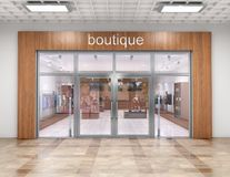 Store exterior in mall. 3d illustration royalty free stock photography