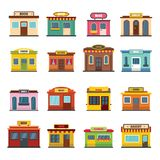 Store facade front shop icons set, flat style. Store facade front shop icons set. Flat illustration of 16 store facade front shop icons for web vector illustration