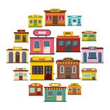 Store facade front shop icons set, flat style. Store facade front shop icons set. Flat illustration of 16 store facade front shop vector icons for web royalty free illustration