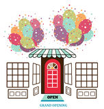 Store facade. Grand opening balloons Royalty Free Stock Images