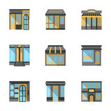 Store facades flat icons Royalty Free Stock Photo