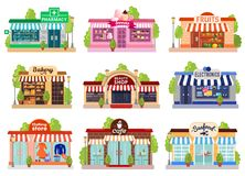 Store Facades Set. Bright colorful facades of six stores and cafes isolated on white background flat vector illustration Royalty Free Stock Photo
