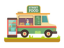 Store fast food van. Lunch sandwich, menu and snack, hot dinner, market and beverage in fridge, street shop, flat vector illustration Stock Image