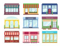 Store flat buildings. Cartoon shop facade with showcase boutique retail building storefront restaurant houses. Shopping stock illustration