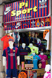 Store with Football Club Barcelona symbolics Royalty Free Stock Images