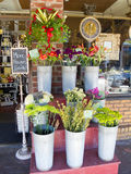 Store Front. A photograph of a Store Front on a busy city street. Flowers for sale Royalty Free Stock Image