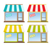 Store Front. Four color store fronts with open sign Stock Photography