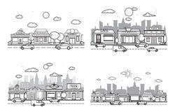 Store Front City Building Street Road Traffic Line Art Outline.  stock illustration