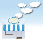 Store front with clouds that goes inside. 3d illustration stock illustration