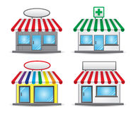 Store Front. With colored awnings and banners Royalty Free Stock Photography