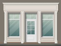 Store front with columns. Store or boutique front with big window and column. Shop facade, vector realistic detailed illustration vector illustration