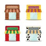 Store Front Illustrations. Illustrations of various store fronts.  Isolated against a white background Stock Photography