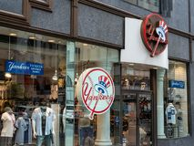 Store front of New York Yankees team store on 5th Avenue in New royalty free stock image