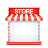 Store Front with Red Awning Stock Photography