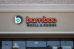 Bamboo Grill and Sushi restaurant sign stock photography