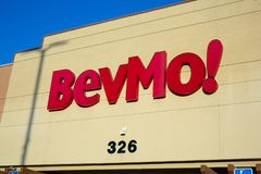A store front sign for Bevmo royalty free stock photography