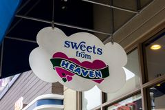 Sweet From Heaven store sign stock photo