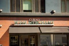 Colony Wine Merchant sign stock photo