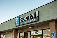 Store front sign for Goodwill stock image