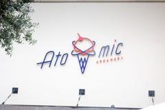 Atomic Creamery restaurant sign royalty free stock photos