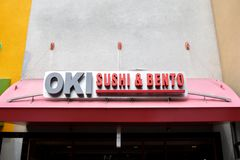 Oki Sushi and Bento restaurant sign royalty free stock photos