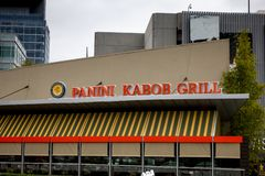 Panini Kabob Grill restaurant sign stock photos