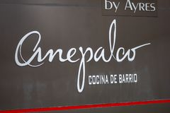 Anepalco Modern Mexican restaurant sign stock photo