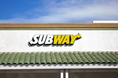 Subway restaurant sign stock photography