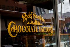 Rocky Mountain Chocolate Factory window sign royalty free stock image