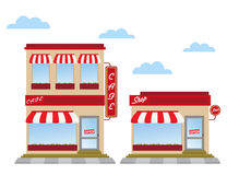 Store fronts. Cafe and shop store fronts Royalty Free Stock Photo