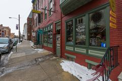 Store Fronts and Apartment Buildings in Downtown York, Pennsylva Stock Images