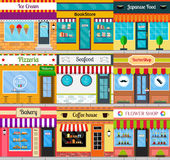 Store fronts and building facades set. Set of different store fronts in flat style. Vector illustration of city public buildings square architecture. Collection Royalty Free Stock Photography