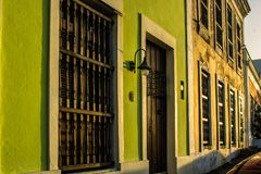 Store fronts in Old Town, San Juan, Puerto Rico. Taken at sunset stock photo